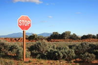 Stop sign in desert