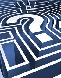 Question mark in a maze