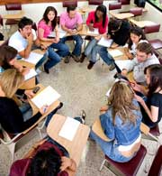 college students sitting in a circle in class