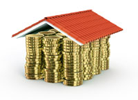 gold coins under a roof