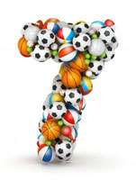 Number seven made of sports balls
