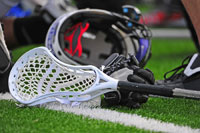 lacrosse stick and helmet