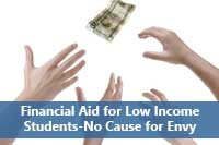 hands grabbing money representing financial aid for low income students