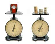 2 scales weighing time and money in transferring from a community college