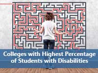 Student lookng at maze representing colleges for students with disabilities