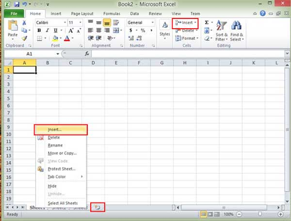 Inserting Worksheets in Excel