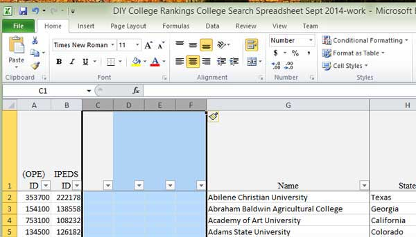 Excel screen shot of four inserted columns