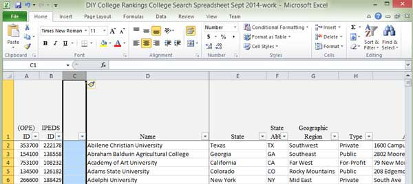 Excel Screen shot column formatting