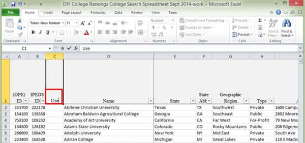 Excel Screen Shot at column title