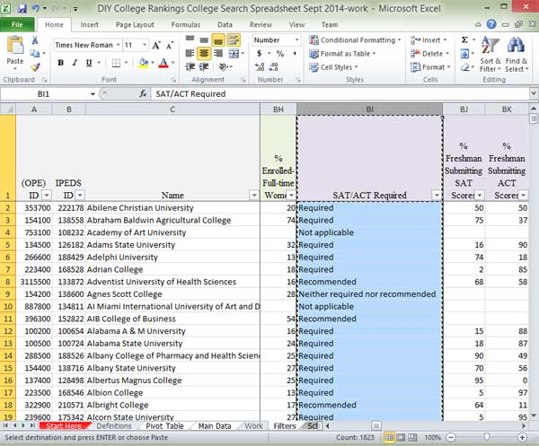 Select SAT column to copy data in Excel