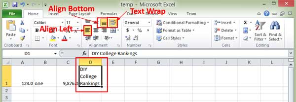 Excel formatting options on the ribbon