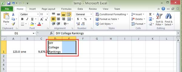 Highlight cells in Excel for merging