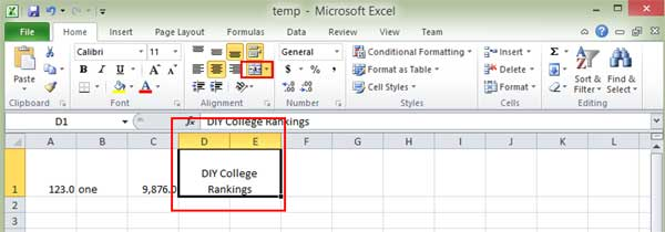 Shows Excel cells merged and centered