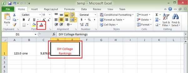 Excel ribbon text color icon
