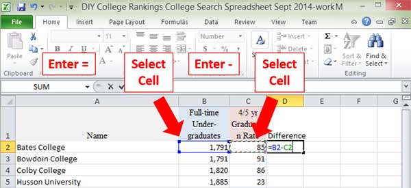 Selecting cells to enter Excel formula