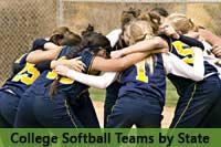 softball team representing college softball teams by state