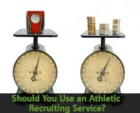 scales with time and money represent athletic recruiting service