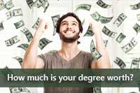 man grabbing money representing How much is a college degree worth
