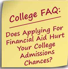 Post-it note asking Does Applying For Financial Aid Hurt Your College Admissions Chances?