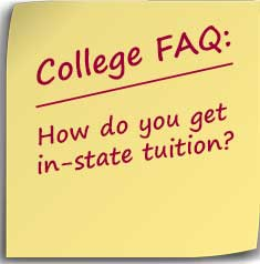 post it note asking how do you get in state tuition