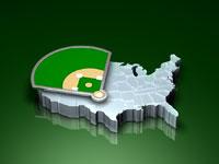 Baseball field on united states map