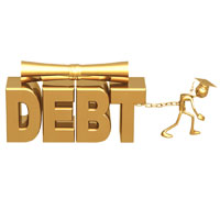 Golden college grad chained to word debt representing need to avoid college debt