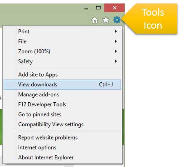 Internet Explorer Tools Dropdown Menu
