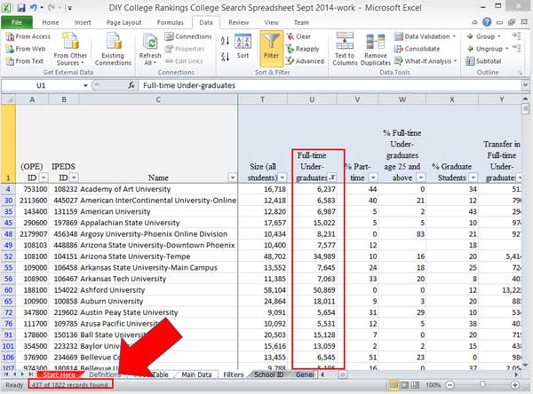 Excel fitler results for numbers