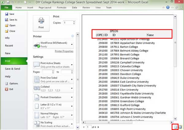 Printing in excel zoom preview