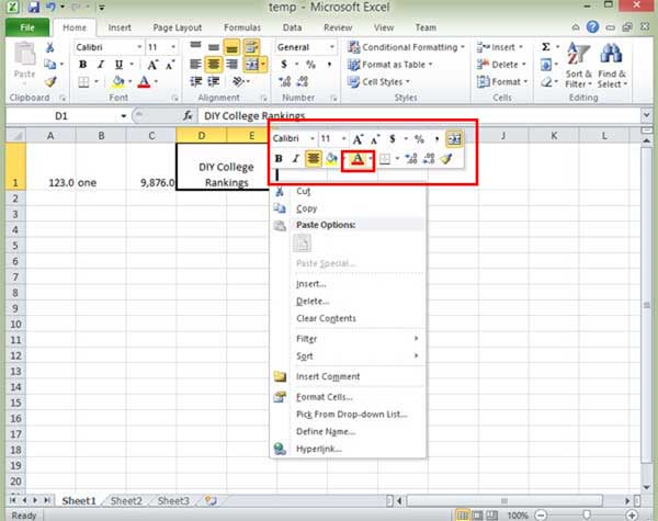 Excel text color menu