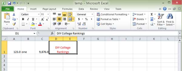 Results of Excel text color change