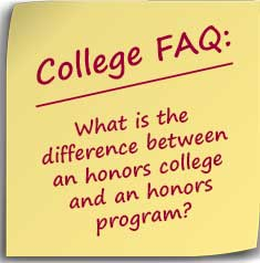 Post-it Note asking What is the difference between an honors college and an honors program?